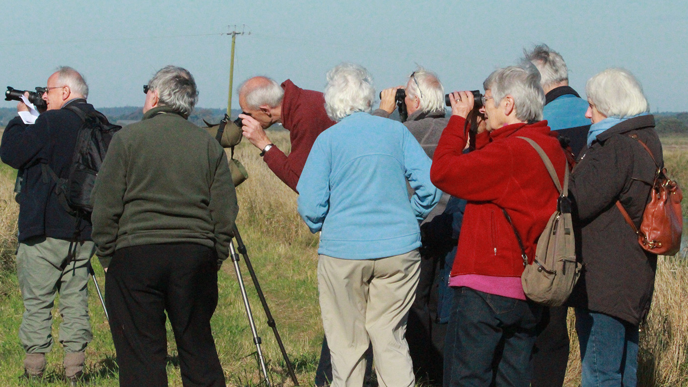 Bird watching group at Lunt Meadows